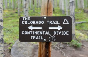 A trail marker in the Colorado Mountains.