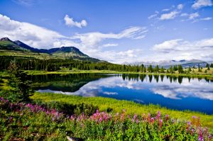 Beautiful view of lake, meadow and mountains during the summertime in Lakota.