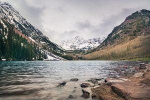 A calm mountain lake new Winter Park.