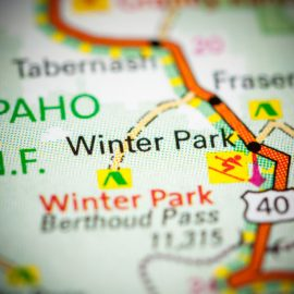 Map centered on Winter Park, Colorado
